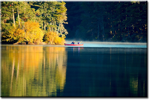 Canoe on lake